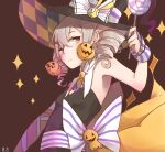 1girl :i armpits bangs bare_shoulders black_headwear bronya_zaychik bronya_zaychik_(snowy_sniper) brown_background candy closed_mouth earrings elbow_gloves food gloves grey_eyes grey_hair hair_between_eyes hat highres holding holding_food homu_(honkai_impact) honkai_(series) honkai_impact_3rd jewelry lollipop looking_at_viewer orange_gloves pumpkin simple_background single_glove solo uneven_sleeves witch_hat xia_bao_(wulalala)