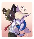 1boy 1girl aggressive_retsuko business_suit buttons chadw claws closed_eyes couple fennec_fox fenneko formal furry furry_with_furry haida_(aggretsuko) heart highres hug hug_from_behind hyena looking_back necktie office_lady pawpads paws sanrio sharp_teeth simple_background suit surprised sweat tail teeth thought_bubble