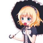 1girl bangs black_bow black_dress black_hairband black_umbrella blonde_hair blue_eyes blush bow breasts covered_mouth dress eyebrows_visible_through_hair flower frilled_hairband frilled_umbrella frills gochuumon_wa_usagi_desu_ka? goth_risuto gothic_lolita hairband hand_up holding holding_flower holding_umbrella kirima_sharo lolita_fashion puffy_short_sleeves puffy_sleeves red_flower red_rose rose short_sleeves simple_background small_breasts solo umbrella upper_body white_background
