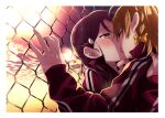 2girls blush bow braid chain-link_fence closed_eyes clouds commentary_request eyebrows_visible_through_hair fence french_kiss hair_bow half_updo hand_on_another's_chin highres jacket kiss kougi_hiroshi long_hair love_live! love_live!_sunshine!! multiple_girls orange_eyes orange_hair outdoors purple_hair red_jacket sakurauchi_riko short_hair side_braid sunset takami_chika tearing_up tongue track_jacket yellow_bow yuri