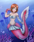 1girl air_bubble blush breasts cleavage collarbone female jellyfish looking_at_viewer mermaid navel nora_valkyrie orange_hair rwby short_hair solo underwater zerorespect_bot