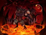 1other claws commentary_request demon demon_wings emon-yu extra_eyes fire full_body magic_circle open_mouth ragnarok_online red_background rock satan_morroc solo standing wings zoom_layer