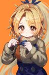 1girl arknights bangs beige_sweater brown_hair buttons eyebrows_visible_through_hair feather_hair frown greypidjun highres holding_bowtie long_hair long_sleeves looking_at_viewer orange_background orange_eyes pinecone_(arknights) ponytail simple_background solo sweater