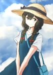 1girl bag black_eyes black_hair blouse blue_dress braid commentary_request dress fuji_(pixiv24804665) hair_between_eyes hair_over_one_eye hat highres isonami_(kancolle) kantai_collection official_alternate_costume sidelocks solo sun_hat sundress twin_braids v_arms white_blouse