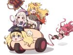 >_< 1boy :3 :d absurdres ayumi_(princess_connect!) bangs bare_shoulders blonde_hair blush breasts brown_hair car closed_mouth detached_sleeves driving drooling elf fizz_(pixiv34498626) ground_vehicle hat heart highres holding holding_weapon japanese_clothes kimono kuuka_(princess_connect!) large_breasts looking_at_mirror military_hat mirror monacar monika_weisswind motor_vehicle multiple_girls ninon_(princess_connect!) open_mouth otoko_no_ko pointy_ears redhead restrained revealing_clothes simple_background smile twintails two_side_up weapon white_background xd yuki_(princess_connect!)