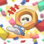 +++ blurry blush commentary_request confetti crying full_body gen_7_pokemon grey_eyes highres holding meltan mythical_pokemon no_humans nut_(hardware) pokemon pokemon_(creature) single_eye solo taisa_(lovemokunae) tears