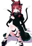 1girl animal_ears arm_support asuzemu bad_anatomy bangs black_bow black_ribbon blunt_bangs blush bow braid breasts cat_ears cat_tail commentary_request convenient_leg dress ear_piercing earrings extra_ears eyebrows_visible_through_hair fang green_dress hair_bow hair_ribbon hand_up jewelry juliet_sleeves kaenbyou_rin knees_together_feet_apart leg_ribbon light_smile long_hair long_sleeves looking_at_viewer multiple_tails nekomata parted_lips paw_pose piercing puffy_sleeves red_eyes redhead ribbon simple_background small_breasts solo tail touhou tress_ribbon twin_braids twintails two_tails white_background