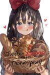 1girl :q baguette bangs basket black_hair blush bow bread closed_mouth commentary_request croissant english_text eyebrows_visible_through_hair food grey_eyes hair_bow heart highres holding holding_basket kiki korean_commentary long_hair looking_at_viewer majo_no_takkyuubin milestone_celebration mixed-language_commentary red_bow saya_(mychristian2) signature simple_background solo tongue tongue_out upper_body white_background