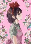 1girl blush brown_hair bug butterfly eyebrows_visible_through_hair floral_background flower from_side grey_eyes hairband highres insect kiki leaf majo_no_takkyuubin pink_background pink_flower red_flower red_hairband saya_(mychristian2) short_sleeves solo