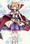 1girl :d abstract_background absurdres anklet bangs beige_blouse belt blouse blush bracelet breasts brown_eyes cape collarbone commentary_request eyebrows_behind_hair full_body gold_trim hair_flaps highres holding holding_stick jewelry koizumo light_brown_hair looking_at_viewer open_mouth pointy_hair purple_cape purple_skirt ritual_baton short_hair skirt sleeveless_blouse small_breasts smile solo standing stick sword touhou toyosatomimi_no_miko weapon