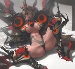 1girl abs armor armored_boots bangs biceps bikini_armor boots breasts chain choker crossed_bangs fate/grand_order fate_(series) gauntlets gawain_(fairy_knight)_(fate) headgear heterochromia huge_breasts infi jewelry muscular muscular_female pendant revealing_clothes shoulder_armor tall_female toned