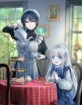 2girls black_eyes black_hair blue_eyes cake food highres long_hair maid michihisa! multiple_girls original picture_frame silver_hair teapot