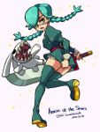 1girl annie_(skullgirls) eyepatch flat_chest green_hair highres jumping looking_back puppet skirt skirt_hold skullgirls star_(symbol) sword thigh-highs twintails weapon wind wind_lift yellow_eyes