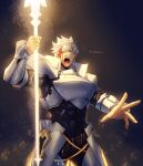 1boy absurdres armor black_background blood blood_on_face blue_eyes fate/grand_order fate_(series) glowing glowing_weapon highres holding holding_polearm holding_spear holding_weapon injury light male_focus muscular muscular_male one_eye_closed pauldrons percival_(fate) polearm shoulder_armor signature spear weapon yaosan233