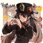 1girl ;d black_headwear brown_hair bug butterfly english_text flower foudreika genshin_impact ghost happy_birthday hat heart heart_hands highres hu_tao_(genshin_impact) insect jewelry long_hair long_sleeves looking_at_viewer one_eye_closed open_mouth plum_blossoms ring smile solo symbol-shaped_pupils teeth twintails wide_sleeves