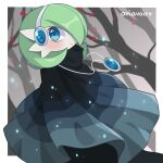 1girl alternate_eye_color artist_name bangs bare_tree bellavoirr blue_cloak blue_eyes blush bob_cut border cloak closed_mouth clothed_pokemon colored_skin commentary dress dutch_angle english_commentary forest gardevoir gem gen_3_pokemon green_hair grey_background hair_over_one_eye happy headphones highres jewelry looking_at_viewer nature necklace outdoors outside_border petals pokemon pokemon_(creature) sapphire_(gemstone) shiny shiny_hair short_hair signature smile solo standing tree white_border white_skin