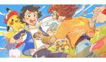 2boys ash_ketchum blue_jacket blush brown_eyes brown_hair clouds commentary_request day falinks gen_1_pokemon gen_8_pokemon green_eyes hatted_pokemon holding_hands jacket koko_(pokemon) letterboxed male_focus multiple_boys open_mouth outdoors pikachu pokemon pokemon_(anime) pokemon_(creature) pokemon_m23 rate_(naze_besu_latte) rillaboom shirt short_hair short_sleeves shorts sky sleeveless sleeveless_jacket smile t-shirt teeth white_shirt