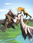 1girl absurdres ahoge animal_feet bikini bird_legs black_bikini black_eyes blonde_hair brown_feathers brown_wings choker clothing_cutout commentary_request feathered_wings feathers flying harpy highres ishicorone long_hair monster_girl mountainous_horizon navel navel_cutout original pointy_ears ponytail sidelocks sky solo swimsuit very_long_hair winged_arms wings