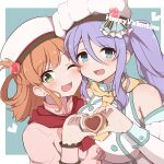 2girls :d alternate_costume asymmetrical_docking bangs bare_shoulders blue_eyes blush breast_press breasts brown_hair cookie detached_sleeves eyebrows_visible_through_hair fizz_(pixiv34498626) food green_eyes hair_between_eyes hair_ornament hair_rings hat heart heart_hands highres large_breasts multiple_girls official_alternate_costume one_eye_closed open_mouth princess_connect! purple_hair rino_(princess_connect!) shizuru_(princess_connect!) side_ponytail small_breasts smile valentine