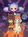 5girls aqua_eyes blue_eyes boots brown_hair chibi cleavage_cutout cloak clothing_cutout commentary crown domino_mask el_condor_pasa_(umamusume) gold_ship_(umamusume) grass_wonder_(umamusume) green_eyes hair_intakes highres holding holding_staff king_halo_(umamusume) long_hair mage_staff mask medium_request multiple_girls mystical_high_collar official_alternate_costume red_eyes seiun_sky_(umamusume) sidelocks staff umamusume white_hair