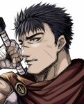 1boy angry armor bandages berserk brown_eyes cape clenched_teeth close-up guts_(berserk) holding holding_weapon horosuke looking_to_the_side male_focus scar short_hair simple_background spiky_hair sword teeth upper_body weapon white_background