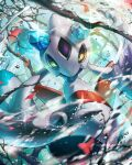 8686island aqua_eyes blurry colored_sclera colored_skin commentary_request froslass gen_4_pokemon looking_at_viewer no_humans pokemon pokemon_(creature) purple_skin solo sparkle yellow_sclera