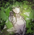 1girl aiming_at_viewer bare_arms bare_shoulders braid bullet_hole closed_mouth detached_collar evillious_nendaiki fourth_wall frown glowing glowing_eyes green_background green_eyes green_hair gumi gun highres leaf limited_palette looking_at_viewer midriff nemesis_no_juukou_(vocaloid) nemesis_sudou pointing pointing_at_viewer pointing_weapon revolver shards shattering short_hair_with_long_locks side_braid sidelocks silhouette sketch sleeveless sleeveless_jacket solo v-shaped_eyebrows vocaloid warabi_(danngo-mitarasi) weapon