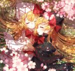 2girls ametama_(runarunaruta5656) bangs black_capelet black_dress black_headwear blonde_hair blurry blurry_foreground bow bowtie capelet cherry_blossoms closed_eyes closed_mouth dress fairy_wings grass hands_together highres lily_black lily_white long_hair long_sleeves lying multiple_girls on_side open_mouth outdoors petals red_bow red_neckwear smile touhou upper_body white_capelet white_dress white_headwear wings