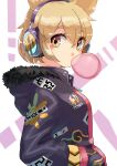 1girl adapted_costume bangs breasts brown_eyes bubble_blowing chewing_gum coat earmuffs eyebrows_visible_through_hair from_side fur_trim hair_between_eyes hands_in_pockets hashiro hood hoodie light_brown_hair medium_breasts pointy_hair purple_coat purple_hoodie short_hair simple_background solo touhou toyosatomimi_no_miko upper_body white_background zipper_pull_tab