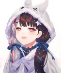 1girl :d animal_ears animal_hood bangs black_hair blue_bow blush bow capelet commentary_request eyebrows_visible_through_hair fake_animal_ears fur-trimmed_hood fur_trim grey_capelet grey_hair hair_bow hair_ornament hairclip hood hood_up hooded_capelet long_hair low_twintails mosomoso multicolored_hair nijisanji open_mouth red_eyes redhead simple_background smile solo streaked_hair twintails two-tone_hair upper_body virtual_youtuber white_background yorumi_rena