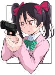 1girl absurdres aiming black_hair bow bowtie gun hair_bow handgun highres holding holding_gun holding_weapon love_live! love_live!_school_idol_project outside_border pistol red_eyes school_uniform simple_background solo sweater twintails upper_body weapon wewe white_background yazawa_nico