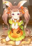 1girl ahoge animal_ears bare_shoulders blush bow brown_collar brown_footwear brown_hair carrot_hair_ornament collar commentary_request dress ear_tag food-themed_hair_ornament frilled_dress frills full_body green_bow hair_bow hair_ornament hands_on_own_face hands_up highres long_hair looking_at_viewer off-shoulder_dress off_shoulder orange_dress original rabbit_ears red_eyes romaji_commentary romaji_text rope shoes solo suzuki_moeko twintails very_long_hair