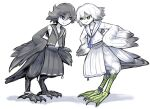 2girls animal_feet bird_legs bird_tail black_feathers black_hair black_skirt black_wings blue_eyes eyebrows_visible_through_hair feathered_wings feathers frown glaring green_eyes hands_on_hips harpy idon looking_at_another monster_girl multiple_girls original school_uniform serafuku short_hair side_slit simple_background skirt standing tail tail_feathers talons webbed_feet white_background white_feathers white_hair white_skirt white_wings winged_arms wings