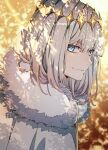 1boy blue_eyes cape fate/grand_order fate_(series) fur-trimmed_cape fur_trim looking_at_viewer male_focus moru00f oberon_(fate) shade silver_hair smile twitter_username