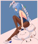 1girl absurdres animal_ear_fluff animal_ears backless_leotard bare_back bare_shoulders black_gloves black_legwear black_leotard blue_hair braid breasts bunny-shaped_pupils bunny_tail carrot_hair_ornament commentary creature english_commentary food-themed_hair_ornament from_side full_body fur-trimmed_gloves fur_trim gloves hair_ornament highres hololive leotard long_hair looking_at_viewer mary_janes multicolored_hair nousagi_(usada_pekora) pantyhose playboy_bunny profile rabbit rabbit_ears rabbit_girl red_eyes shoes short_eyebrows sideways_glance signature sitting sitting_on_animal small_breasts solo strapless strapless_leotard sumosumo tail thick_eyebrows twin_braids twintails two-tone_hair usada_pekora virtual_youtuber white_footwear white_hair