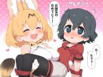 2girls :3 @_@ animal_ears bare_shoulders black_hair black_legwear blonde_hair blue_eyes blush bow bowtie carrying cat_ears cat_girl cat_tail closed_eyes commentary_request extra_ears eyebrows_visible_through_hair fang grey_shorts highres kaban_(kemono_friends) kemono_friends multiple_girls no_hat no_headwear open_mouth pantyhose princess_carry print_neckwear ransusan red_shirt ribbon serval_(kemono_friends) serval_print shirt short_sleeves shorts sleeveless sweatdrop t-shirt tail translation_request white_shirt