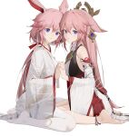 2girls absurdres bangs bare_shoulders barefoot closed_mouth company_connection crossover earrings flower genshin_impact hair_between_eyes hair_ornament hair_ribbon hands_together highres holding_hands honkai_(series) honkai_impact_3rd japanese_clothes jewelry kimono kuo_(kuo114514) long_hair long_sleeves looking_at_viewer mihoyo_technology_(shanghai)_co._ltd. multiple_girls pink_flower pink_hair ponytail ribbon seiza simple_background sitting smile soles thigh-highs toes violet_eyes white_background white_kimono white_legwear yae_(genshin_impact) yae_sakura yae_sakura_(gyakushinn_miko)