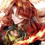 1boy alvis_(fire_emblem) fire fire_emblem fire_emblem:_genealogy_of_the_holy_war gold_trim highres kandori_makoto long_hair looking_at_viewer male_focus red_eyes redhead solo