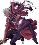 1boy 1girl :o absurdres ahoge archer_(fate) arms_up black_footwear black_legwear black_skirt blue_eyes blush character_name fate/stay_night fate_(series) highres holding holding_sword holding_weapon jacket long_hair long_sleeves red_jacket running skirt sword tattoo thigh-highs tohsaka_rin weapon white_background white_hair you_shikage