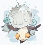 akadako bird closed_mouth commentary_request eiscue eiscue_(ice) eiscue_(noice) full_body gen_8_pokemon ice ice_cube looking_at_viewer no_humans penguin pokemon pokemon_(creature) toes