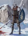 1boy ambiguous_gender armor belt blood blood_splatter bloody_weapon chosen_undead covered_face dark_souls_i full_armor helmet holding holding_shield holding_sword holding_weapon male_focus metal_boots miso_katsu outdoors pauldrons rock shield shoulder_armor snow solo souls_(series) standing sword weapon