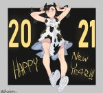 1girl 2021 absurdres alternate_costume animal_print armpits artist_name asymmetrical_bangs bangs black_hair blush closed_mouth collarbone commentary cow_print dress eyelashes floating_hair green_eyes hands_up happy_new_year highres horns_pose knees l4wless long_hair marnie_(pokemon) new_year number pokemon pokemon_(game) pokemon_swsh shoe_soles shoes signature sleeveless sleeveless_dress sneakers solo white_dress white_footwear