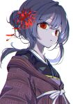 1girl :o absurdres floating_hair flower hair_bun hair_flower hair_intakes hair_ornament highres huge_filesize idolmaster idolmaster_shiny_colors japanese_clothes kimono looking_at_viewer looking_to_the_side morino_rinze natsume_hinako red_eyes simple_background solo spider_lily upper_body white_background