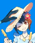 1girl bangs blue_background blue_shirt brown_eyes brown_hair collarbone commentary_request eyebrows_visible_through_hair flower food frilled_shirt frills gen_8_pokemon gloria_(pokemon) grin hair_flower hair_ornament hands_up hat holding holding_clothes holding_hat holding_stick inteleon one_eye_closed pink_flower pokemon pokemon_(creature) pokemon_(game) pokemon_masters_ex popsicle puteru shirt short_hair simple_background sleeveless sleeveless_shirt smile stick straw_hat teeth