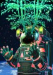 1other astronaut broken broken_glass clouds crack cracked_glass earth_(planet) glass glowing green_outline highres leaf open_hands original outline planet seiya_(artist) solo space space_helmet spacesuit tree