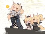 1other 3girls ? ambiguous_gender animal_ears arknights armor aunt_and_niece black_bow black_jacket blemishine_(arknights) blonde_hair bow chibi closed_eyes commentary doctor_(arknights) earpiece emphasis_lines extra_ears eyebrows_visible_through_hair hair_between_eyes hair_bow handkerchief highres holding_person hood hood_up horse_ears horse_girl horse_tail implied_extra_ears jacket jitome kyou_039 long_hair mask multiple_girls nearl_(arknights) open_clothes open_jacket parody ponytail shirt siblings sisters spoken_question_mark standing tail the_lion_king thick_eyebrows twitter_username whislash_(arknights) white_background white_shirt wiping_face yellow_eyes