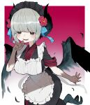 1girl animal_feet apron bangs black_eyes black_wings blue_ribbon breasts commentary_request feathered_wings feathers finger_to_mouth flower gradient gradient_background grey_hair hair_flower hair_ornament harpy highres large_breasts maid maid_apron maid_headdress mole mole_under_mouth monster_girl open_mouth original red_background red_flower ribbon sakutake_(ue3sayu) solo standing standing_on_one_leg white_background wings