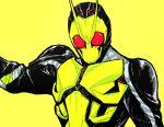 1boy antennae arm_up armor facing_viewer ishibori_eregomos kamen_rider kamen_rider_01_(series) kamen_rider_zero-one male_focus mask shoulder_pads simple_background solo upper_body yellow_background
