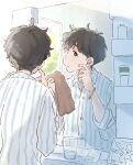 1boy ad bathroom black_eyes black_hair bottle bracelet commentary glass hand_on_own_face highres holding holding_towel jewelry kana_(okitasougo222) looking_at_mirror male_focus messy_hair mirror original pajamas product_placement short_hair sink solo striped striped_pajamas towel