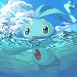 :d blue_eyes clouds commentary_request day gen_4_pokemon highres looking_up manaphy mian_(3zandora) mythical_pokemon no_humans open_mouth outdoors partially_underwater_shot pokemon pokemon_(creature) sky smile solo tongue water